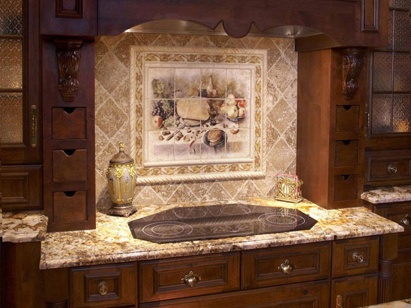 tile mural designs - Kitchen Murals Backsplash